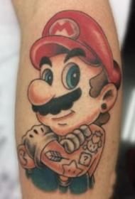 馬里奧紋身 9款游戲角色超級瑪麗馬里奧紋身圖案