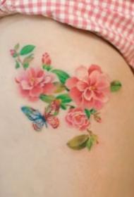 女生大腿的一組小清新性感花卉紋身圖片