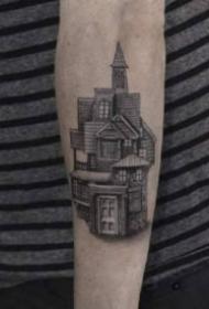房子紋身 一組紀念房子和建筑的紋身作品圖