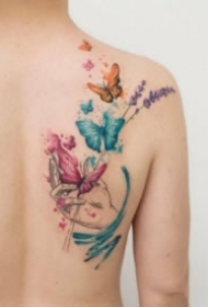 纹身蝴蝶图 小清新的9款水彩蝴蝶纹身图片