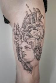 大腿大臂上一組西方銅版畫紋身圖案