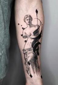 炫酷的抽象笔触水墨涂鸦纹身图案