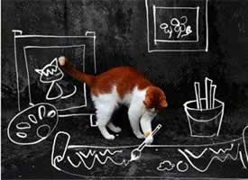 萌猫咪趣味插画图片