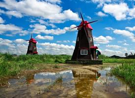一组荷兰风车图片