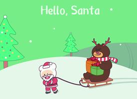 鼠年壁纸笨笨鼠圣诞节高清手机壁纸