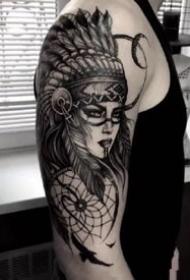 印第安美女的几款写实纹身作品图片