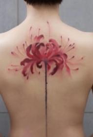 女生紋身美背 女孩子后背彩色水墨