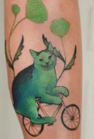 蓝绿色创意的一组猫主题纹身图片