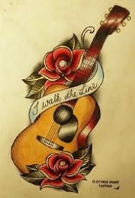 吉他纹身 几款吉他的纹身作品和手稿图片