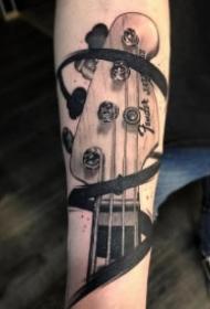 乐器纹身 9款吉他架子鼓等乐器主题的纹身图案