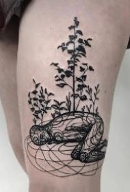 凌乱风格的一组9款抽象线条艺术纹身作品图案