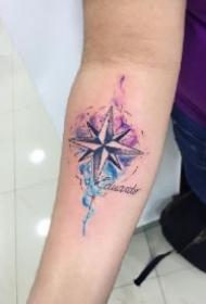 指南针水墨纹身 水墨系列的9款指南针纹身图案
