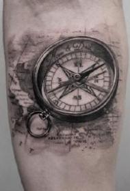 指南针刺青 16款精美的指南针主题纹身作品图案