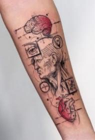 很有设计感的一组9款几何纹身图片