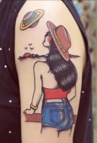 简笔插画女郎主题的9款纹身图片作品