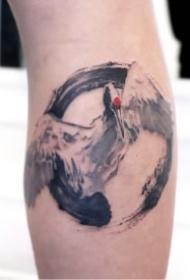 中国风的一组传统水墨纹身图片