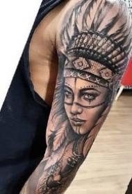印第安人元素的9款花臂纹身作品图案