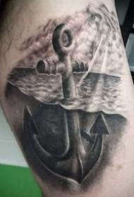 黑灰色的9款个性船锚纹身图片