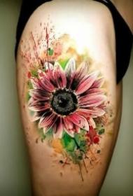 小清新的一组9款向日葵纹身图片