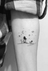 星月纹身 极简星星和月亮元素的一组极简小纹身图案