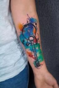 水彩吉他纹身 水彩色的9款小清新吉他纹身图片