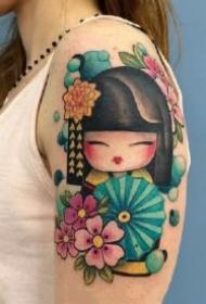 和风浴衣小娃娃 灵性且可爱的和服小日式艺伎纹身图片