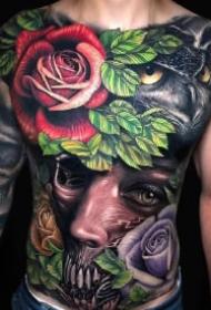 炫彩大面积的一组满背花胸纹身作品
