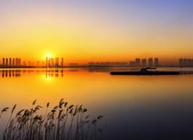 山西晋阳湖黄昏风景图片