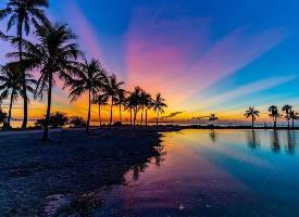 佛罗里达的油画般的黄昏 