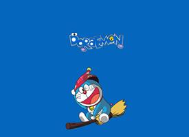 一组蓝色背景可爱的哆啦A梦