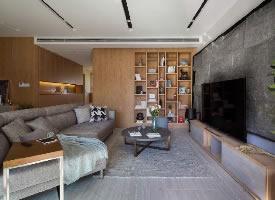 100㎡现代风格家居装修,天然石材的背景墙漂亮大气