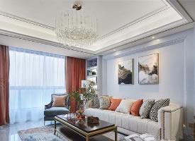 135㎡美式风三居室设计,清爽大气的美居