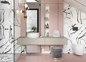 粉嫩的卫生间设计,很温馨