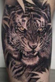 欧美写实9款老虎头纹身图片