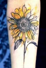 向日葵主题的15款花卉纹身图片