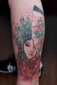 花旦刺青 精美的9款花旦纹身图案作品