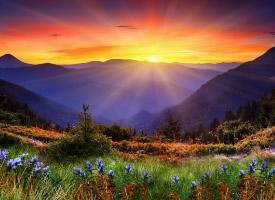 绚丽阳光下最美山水风景图片