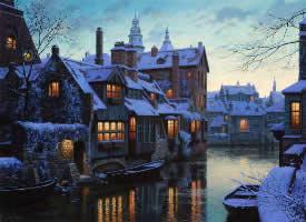 蓝色而安静的雪夜图片