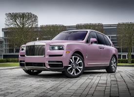 超美的劳斯莱斯汽车图片,粉色有点甜