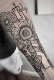 点刺黑灰的9款梵花纹身作品图