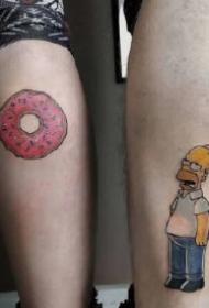 很可爱的9组卡通情侣纹身图片