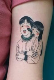 一组可爱的黑色情侣纹身图案