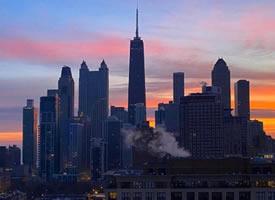 夜幕降临,摄影师镜头下的芝加哥
