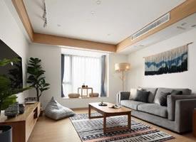126㎡日式风三居,绿色背景墙好吸睛