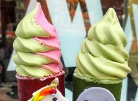 一组抹茶系列冰淇淋图片