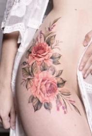 一组彩色飞针花性感女生纹身图案