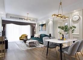 现代轻奢风三居室装修设计,丰富的色彩细腻的质感