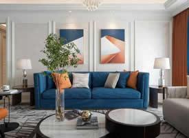 现代轻奢,蓝橙配的空间,安静与热情碰撞