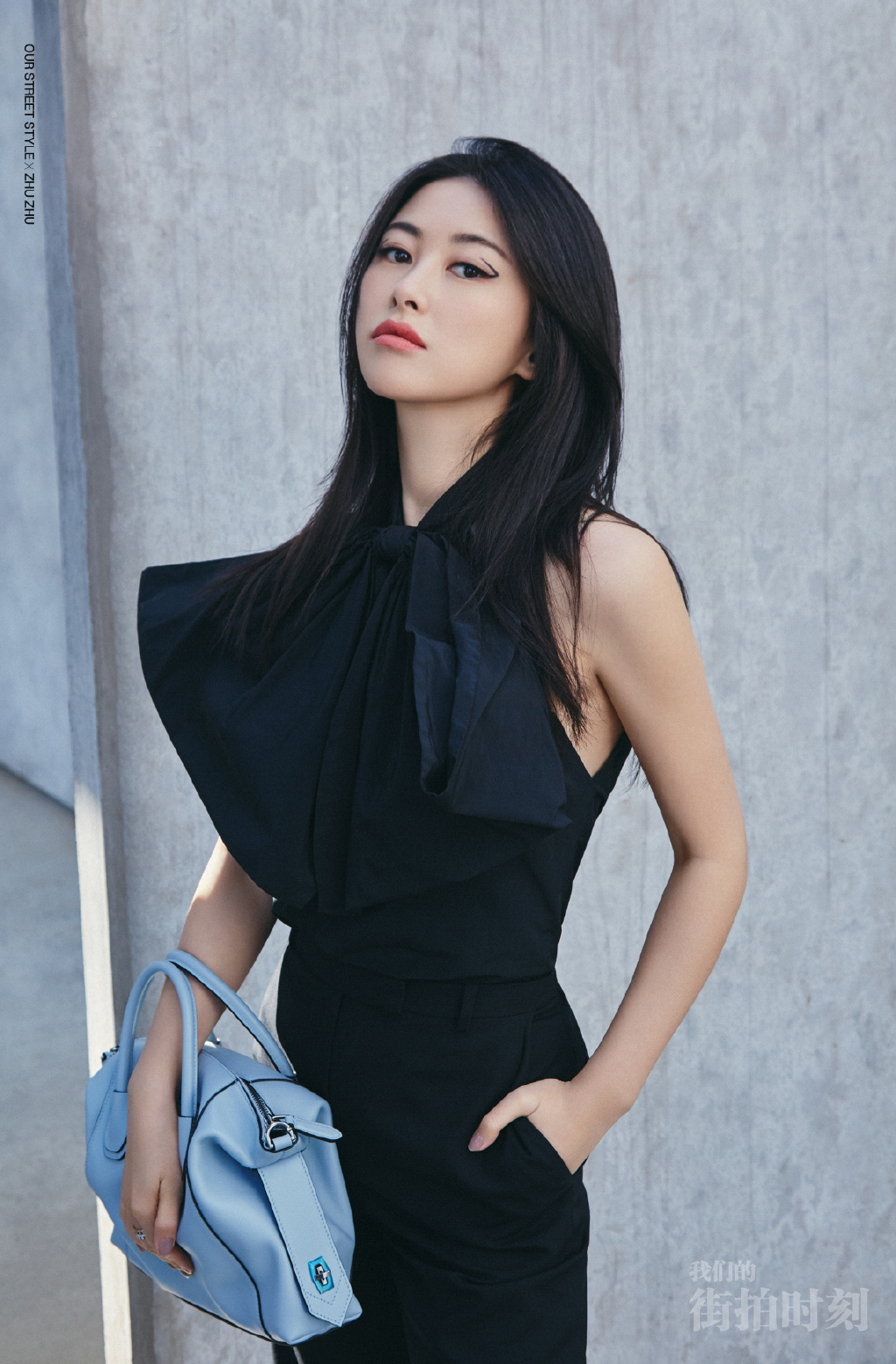 朱珠黑色系摩登时尚写真图片