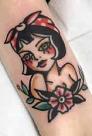 一组可爱的卡通女生彩色手臂纹身